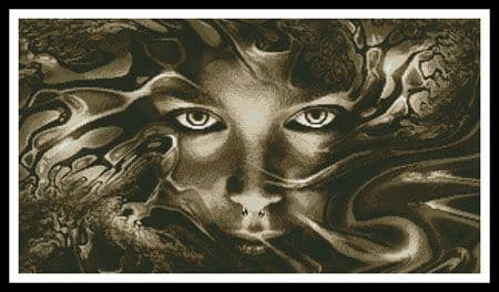 Abstract Face Sepia by Artecy printed cross stitch chart